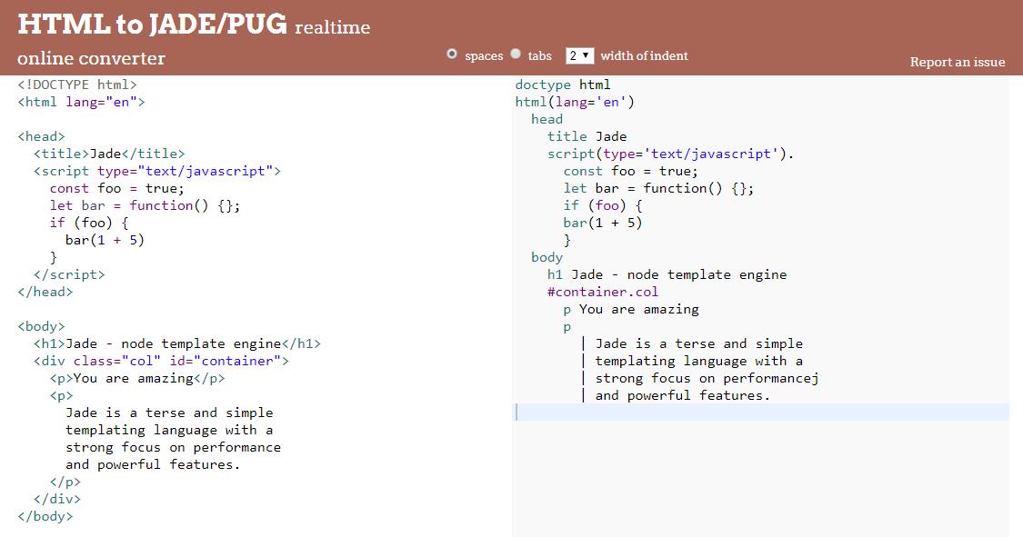HTML to JADE/PUG